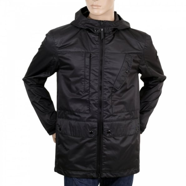 DESCENTE Mens Lightweight Regular Fit Black Hooded Storm Parka Jacket