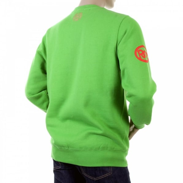RMC JEANS Mens Lime Crew Neck Large Fitting Sweat Shirt
