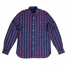 Mens Long Sleeve Blue and Pink Gingham Check Shirt with embroidered chest logo from Fred Perry