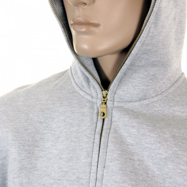 RMC JEANS Mens Marl Grey Hooded Zipped Regular Fit Sweatshirt
