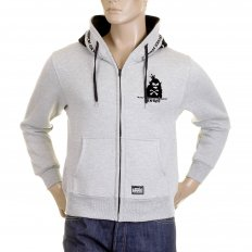 Mens Marl Grey Hooded Zipped Regular Fit Sweatshirt