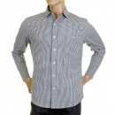 RMC MKWS Mens Navy Check Penny Collar Long Sleeve Regular Fit Shirt