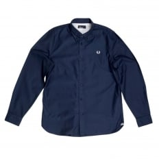 Mens Navy Cotton Made Regular Fit Long Sleeve Shirt by Fred Perry with Logo Embossed Buttons