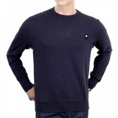 Mens Navy Crew Neck Cotton Regular Fit Sweatshirt