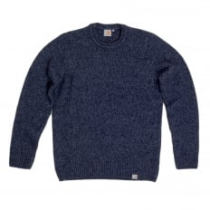 Mens Navy Heather Regular Fit Crew Neck Carhartt Morris Sweater with Heavier Knit CARH6833