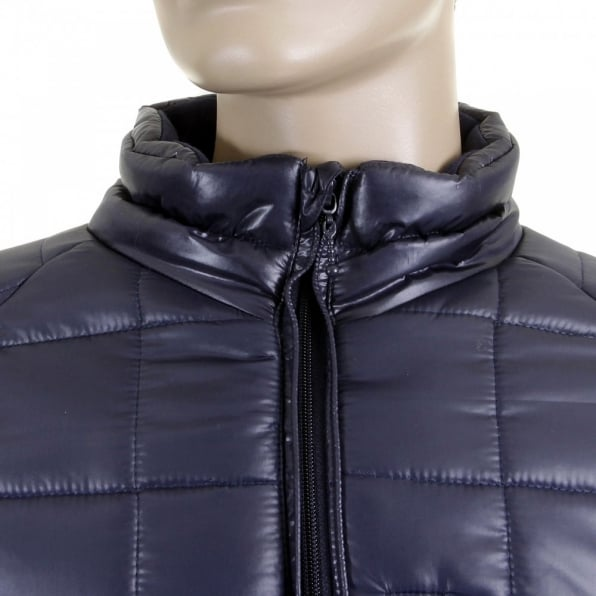 RMC MKWS Mens Navy Nylon Zip Up Down Filled Regular Fit Quilted Jacket