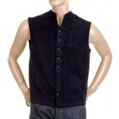 Mens Navy Plush Fleece Sleeveless Regular Fit Jacket Gilet