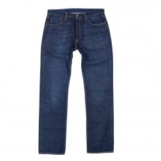 Mens Original Fit 501 Regular Waist Straight Leg Button Fly Washed Blue Chip Jeans by Levis