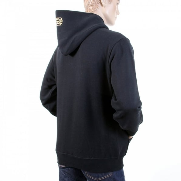 RMC JEANS Mens Overhead Large Fitting Hooded Sweatshirt in Black