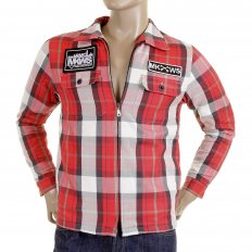 Mens Padded Red Check Regular Fit Zip Up Jacket