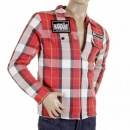 RMC MKWS Mens Padded Red Check Regular Fit Zip Up Jacket