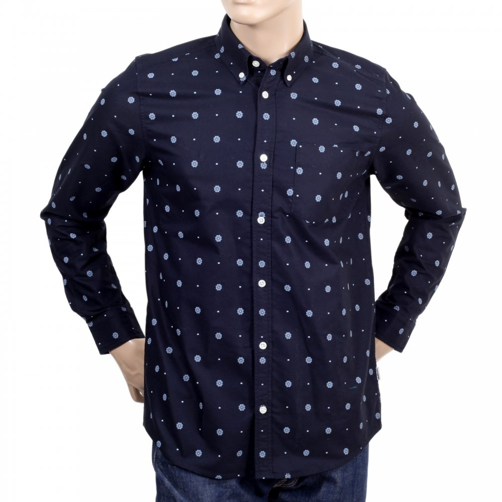 Printed navy blue slim fit shirts for men by carhartt for Mens 100 cotton long sleeve t shirts