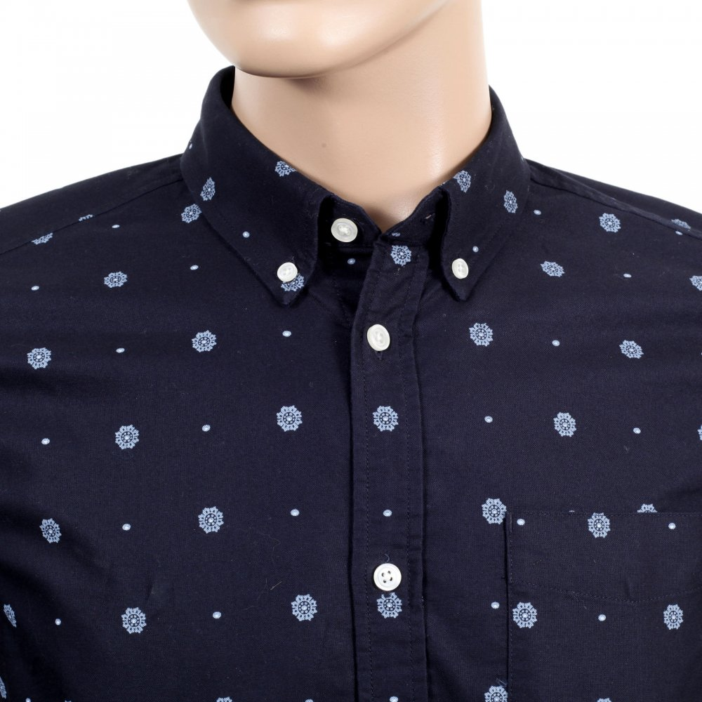 Printed navy blue slim fit shirts for men by carhartt for Mens slim fit long sleeve shirts