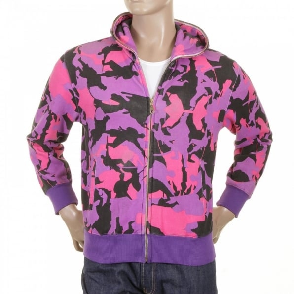 RMC JEANS Mens Purple Pink and Black Samurai Camo Hooded Regular Fit Zipped Sweatshirt