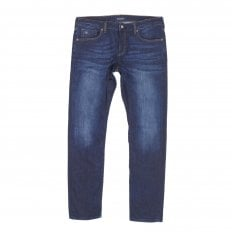Mens Ralston 136055 Regular Slim Fit Jeans in Washed Indigo Blue with Fading and Creasing By Scotch & Soda