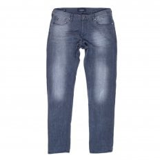 Mens Ralston Regular 135140 Slim Fit Jeans in Washed Grey with Fading and Creasing By Scotch & Soda
