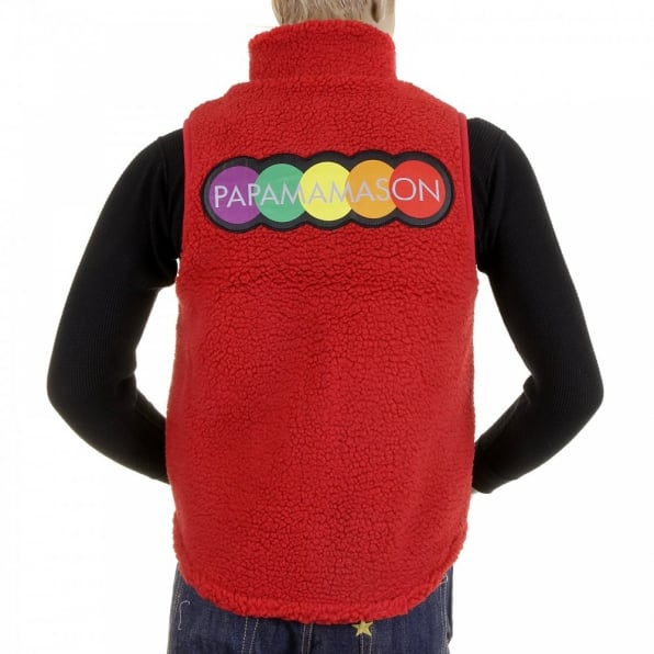 RMC MKWS Mens Red Plush Fleece Zip Up Sleeveless Regular Fit Vest Gilet