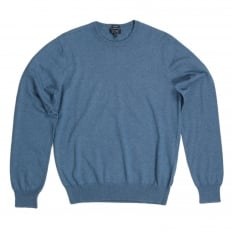 Mens Regular Fit Crew Neck Cotton and Wool Mix Melange Blue Knitwear by Armani Jeans AJM6453