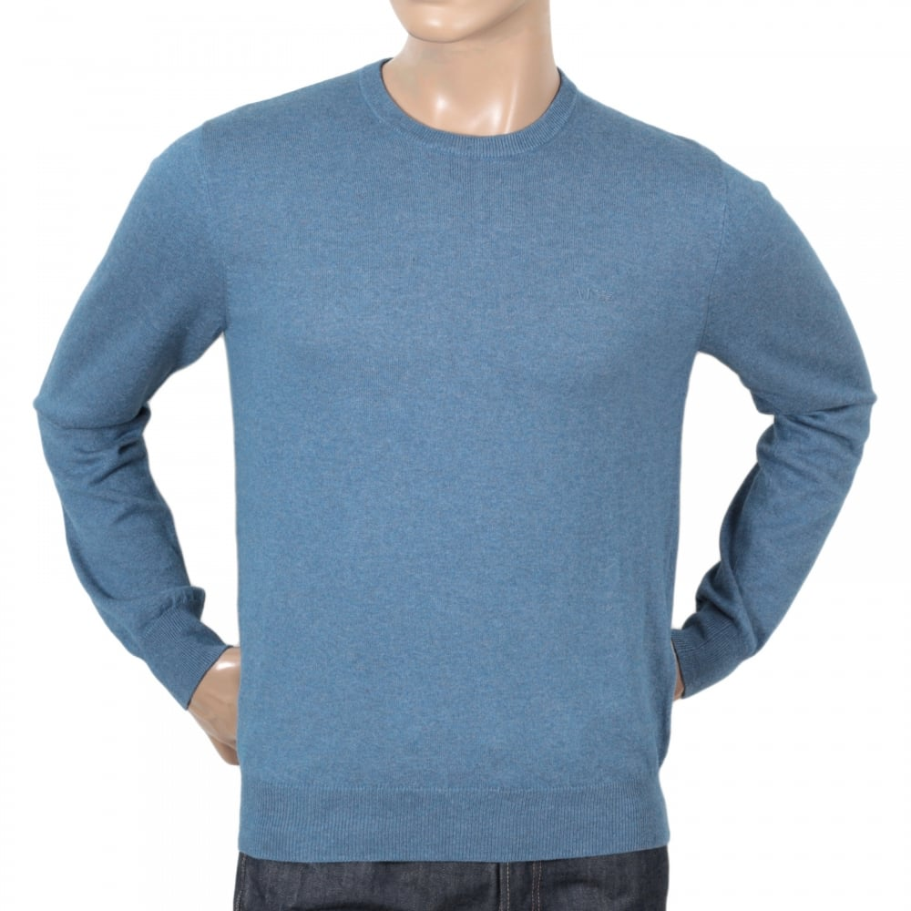 665e4955f93e ... ARMANI JEANS Mens Regular Fit Crew Neck Cotton and Wool Mix Melange  Blue Knitwear by Armani ...