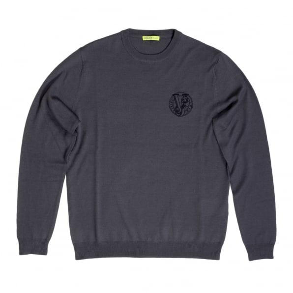 VERSACE JEANS Mens Regular Fit Crew Neck Darker Grey Sweater by Versace with Embroidered Signature Logo VERS6711