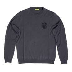 Mens Regular Fit Crew Neck Darker Grey Sweater by Versace with Embroidered Signature Logo VERS6711