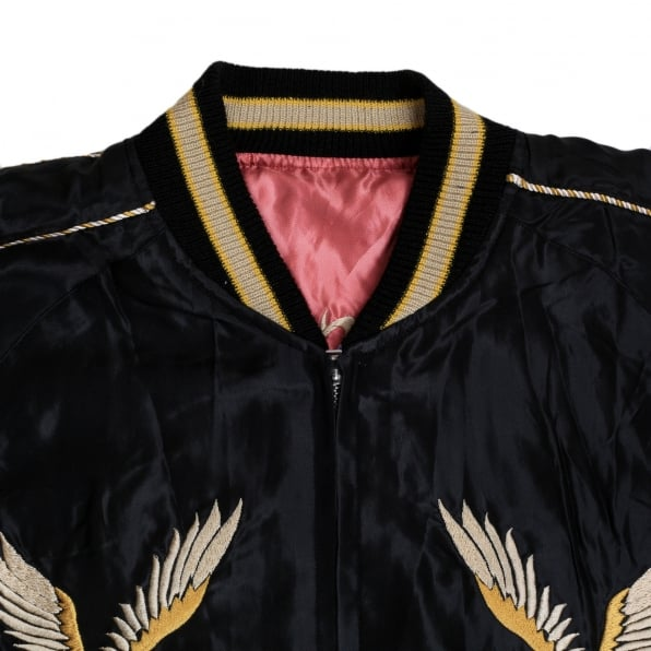 TAILOR TOYO Mens Regular Fit Fully Reversible Suka Jacket in Black and Pink with Eagle Embroidery by Tailor Toyo TOYO7526