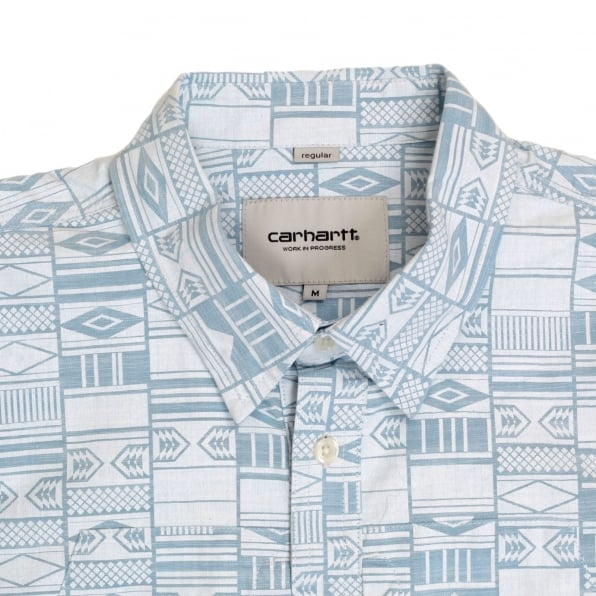 CARHARTT Mens Regular Fit Gary Apache Print Short Sleeve Shirt with Vertical Opening Chest Pockets by Carhartt