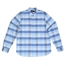 Mens Regular Fit Long Sleeve Light Blue Textured Gingham Shirt with Soft Button Collar by Fred Perry