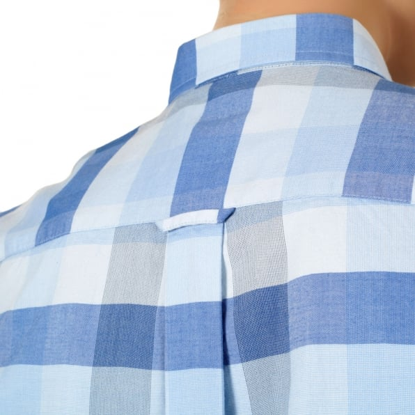 FRED PERRY Mens Regular Fit Long Sleeve Light Blue Textured Gingham Shirt with Soft Button Collar by Fred Perry