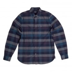 Mens Regular Fit Long Sleeve Navy Textured Gingham Shirt with Soft Button Collar by Fred Perry