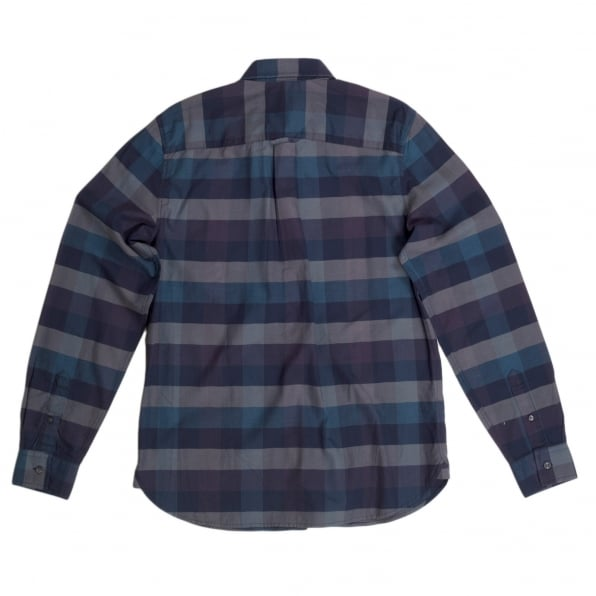 FRED PERRY Mens Regular Fit Long Sleeve Navy Textured Gingham Shirt with Soft Button Collar by Fred Perry