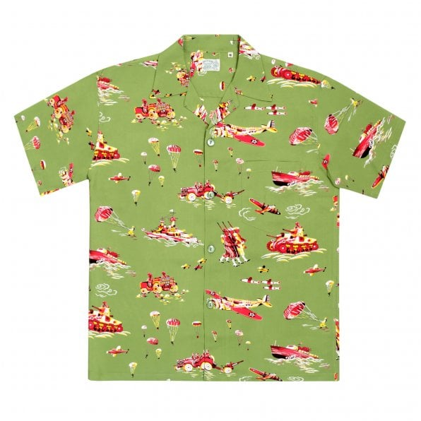 SUN SURF Mens Regular fit Olive Oahu History of Troops Printed SS37576 Hawaiian Shirt with Cuban collar by Sun Surf