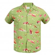 Mens Regular fit Olive Oahu History of Troops Printed SS37576 Hawaiian Shirt with Cuban collar by Sun Surf