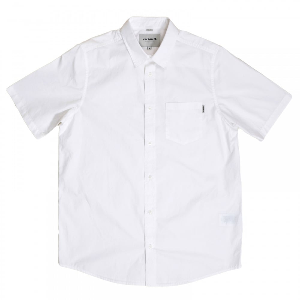 Buy classy white short sleeve shirt for men by carhartt for Mens short sleeve button down shirts