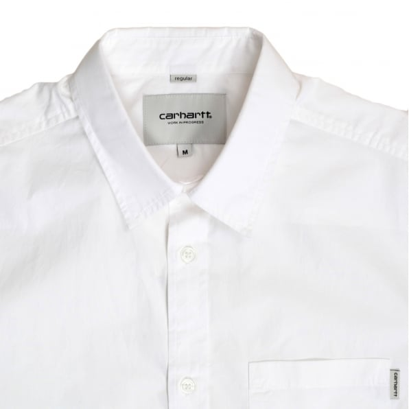 CARHARTT Mens Regular Fit Short Sleeve Button Down Collar White Wesley Shirt with Single Chest Pocket by Carhartt