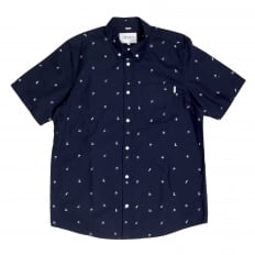 Mens Regular Fit Short Sleeve Navy Cotton Shirt with White Economy Print by Carhartt