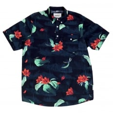 Mens Regular Fit Short Sleeve Roy Tropic Print Navy Cotton Shirt with Single Chest Pocket by Carhartt