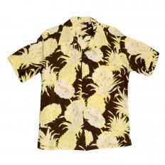 Mens Regular Fit Short Sleeve SS37452 Hawaiian Shirt in Brown with Yellow Island Pineapple Print by Sun Surf