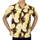SUN SURF Mens Regular Fit Short Sleeve SS37452 Hawaiian Shirt in Brown with Yellow Island Pineapple Print by Sun Surf
