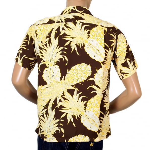 SUN SURF Mens Regular Fit Short Sleeve SS37452 Hawaiian Shirt in Brown with Yellow Island Pineapple Print by Sun Surf