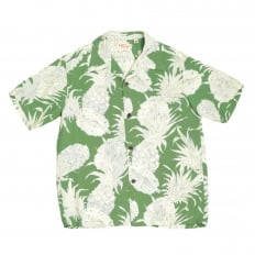 Mens Regular Fit Short Sleeve SS37452 Hawaiian Shirt in Green with Grey Island Pineapple Print by Sun Surf