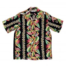 Mens Regular Fit Short Sleeve SS37468 Hawaiian Shirt in Black with Blessing of Nature Print by Sun Surf
