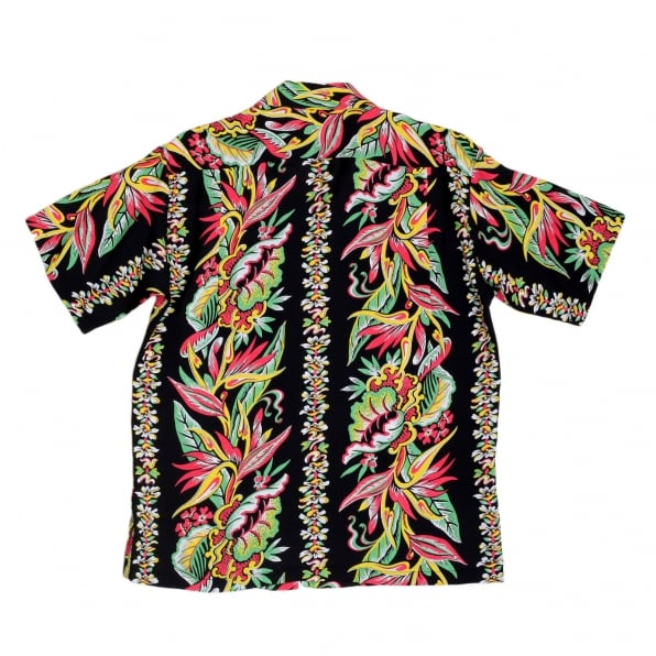SUN SURF Mens Regular Fit Short Sleeve SS37468 Hawaiian Shirt in Black with Blessing of Nature Print by Sun Surf