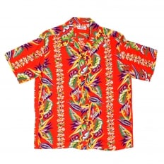 Mens Regular Fit Short Sleeve SS37468 Hawaiian Shirt in Red with Blessing of Nature Print by Sun Surf