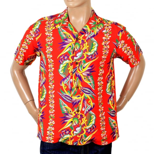SUN SURF Mens Regular Fit Short Sleeve SS37468 Hawaiian Shirt in Red with Blessing of Nature Print by Sun Surf