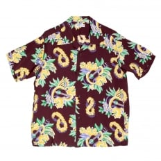 Mens Regular Fit Short Sleeve Wine Coloured SS37453 Hawaiian Shirt with Macintosh Ukulele Print by Sun Surf