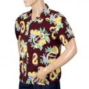 SUN SURF Mens Regular Fit Short Sleeve Wine Coloured SS37453 Hawaiian Shirt with Macintosh Ukulele Print by Sun Surf
