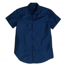 Mens Short Sleeve Woven Cotton Blue Shirt with Self Coloured Mini Dot Jacquard Pattern by Armani Jeans AJM5987