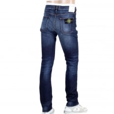 Mens Skinny Fit Zip Fly Vintage Wash with Fading Blue Denim Jeans by Stone Island