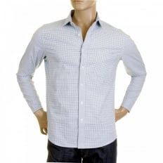 Mens Sky Blue Check Penny Collar Long Sleeve Regular Fit Shirt